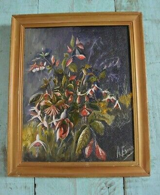 Still Life Fuschia Flowers  Oil On Wood Vintage Signed A Edwards Framed
