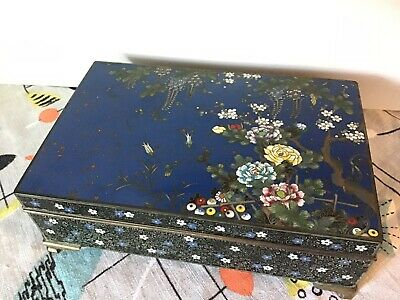 Fine Japanese Enamel Ando Jubei Cloisonne Box Case Midnight Blue Goldstone Stars