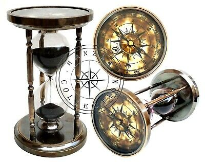 "4"" Brass Compass Top Sand Timer 6"" Nautical Maritime Hourglass Vintage Old Clock"