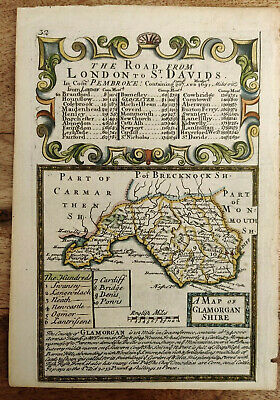 Thomas Bowles 1720 hand coloured map of Glamorganshire from Britannia Depicta