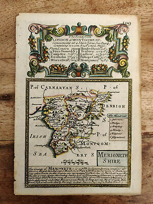 Thomas Bowles 1720 hand coloured antique map of Merionethshire