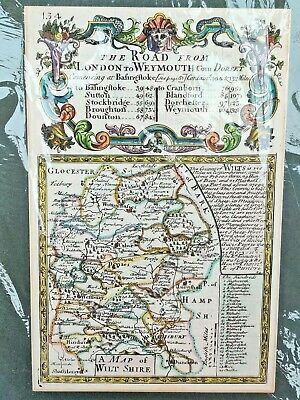 Mounted Thomas Bowles 1720 hand coloured map of Wiltshire from Britannia Depicta