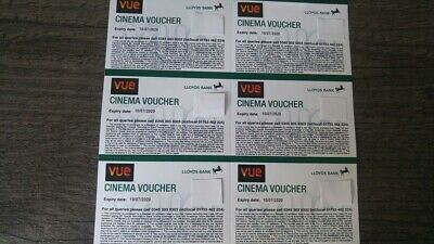 6 Vue Cinema Tickets - Expiry 10/07/2020 - Club Lloyds - emailed to you