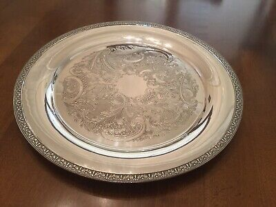 Lovely Vintage Silver Plated Chased Footed Drinks Tray