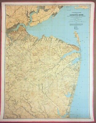 Original Antique Map of Monmouth Shore, New Jersey, 1886, More Regions Available