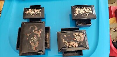 SET OF 4 NESTING ANTIQUE(1920)CHINESE LACQUERED DRAGON type STORAGE BOXES