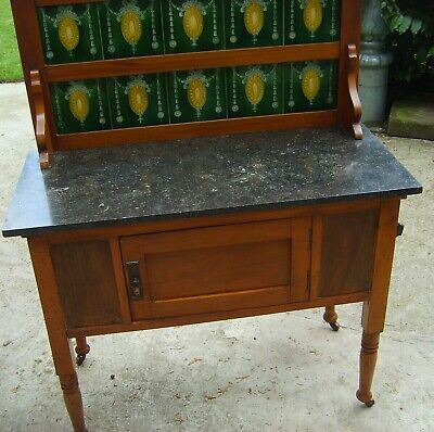 Antique wash stand,Edwardian/Victorian,mahogany,black marble top,green tile back