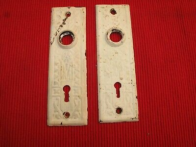 Antique Ornate Victorian Door Knob Back Plates Eastlake  White Paint 19Th C