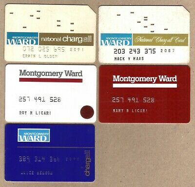 Vintage Montgomery Ward Charg-All Merchant Credit Cards - Group of 5 Different.