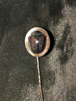 Antique Egyptian Revival 9kt Rose Gold Scarab Beetle Stick Pin, No Marks