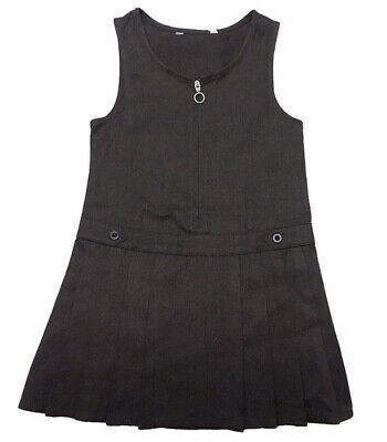 BHS Girls School Uniform Pinafore Dress in Grey/Charcoal Pleated Brand New