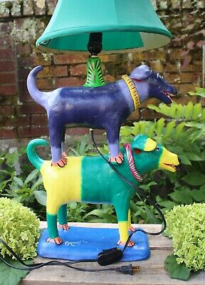 2 Dog Lamp Extra Large Labrador or Mutt ? Handmade by Ortega Mexican Folk Art