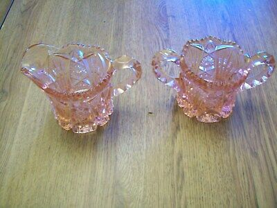 Pink Pressed Heavy Glass Creamer And Sugar Bowl