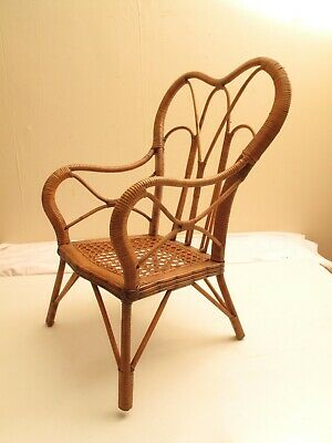 "Antique Bentwood Wicker Rattan Childs Chair Cane Bear Doll Chair 23"" Heart Shape"