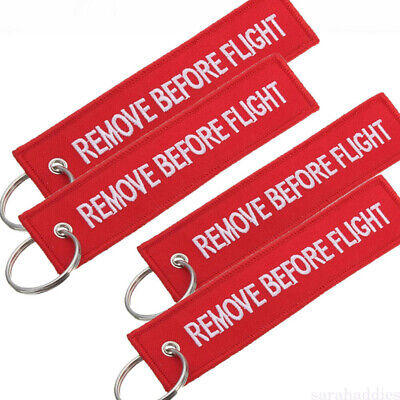Fabric Remove Before Flight Key Ring Keychain Pilot Bag Tag Luggage Keyring
