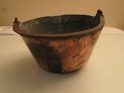 Vtg Antique Hand Hammered Copper Tin Bowl W Wrought Iron Bale Handle Mid Eastern