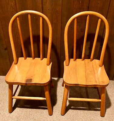 TWO - Vintage Old Wooden Child's Bentwood Chairs Primitive Country Bow Back