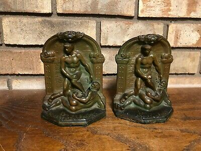 Pair Of Old Antique Metal Bronze Finish Greek Roman Wrestlers Nude Male Bookends