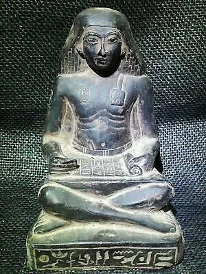 EGYPTIAN ANTIQUE ANTIQUITY Seated Squatting Scribe Statue Figure 1400-1356 BC