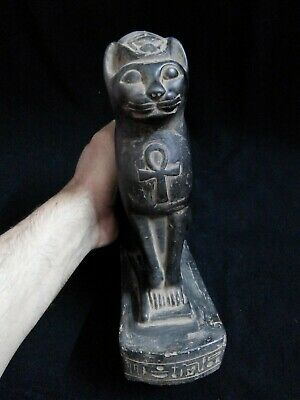EGYPTIAN ANTIQUE ANTIQUITY Seated Cat Bastet Ubaste Bast Statue 2290-2660 BC
