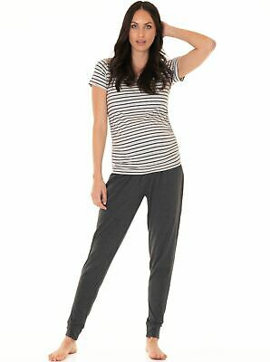 Maternity Pants in Relax Outfit + Free Tee in Grey Stripes