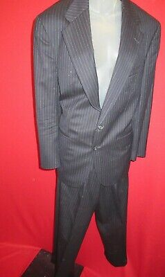 RALPH LAUREN UNIVERSITY POLO CLUB Wool Black Grey Pinstripe Jacket Pants Suit 42