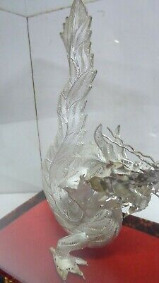 Contemporary Filigree Silver Metal Chinese Dragon In Glass Case - Fabric Case