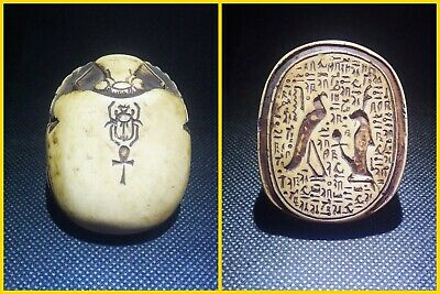 EGYPTIAN ANTIQUE ANTIQUITIES Scarab Beetle Khepri Figure Sculpture 1549-1168 BC