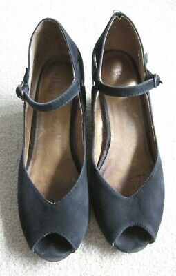 JEFFREY CAMPBELL black suede peep toe wedges - size 7.5M