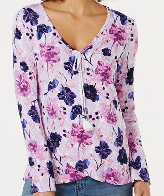 Style /& Co Floral Print Smocked Surplice Blouse Top Black XS-S-L-XL-M $49 JH