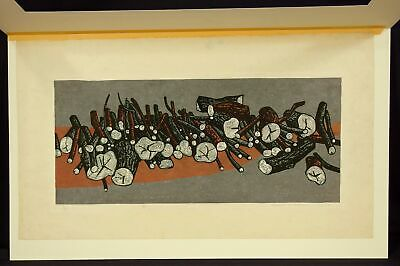 Rare Early FUMIO KITAOKA Japanese Shin Hanga Color Woodblock Print, LOGS, 1959