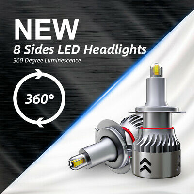 8-Side CSP H7 LED Headlight Fog Lights Mini Bulbs Kit 2200W 480000LM White 6000K
