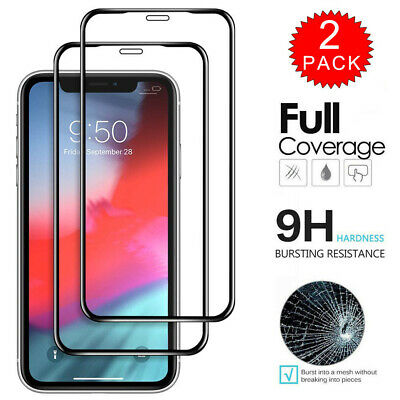 For iPhone X XR XS Max - FULL COVER 9D Tempered Glass Screen Protector 1/2-Pack