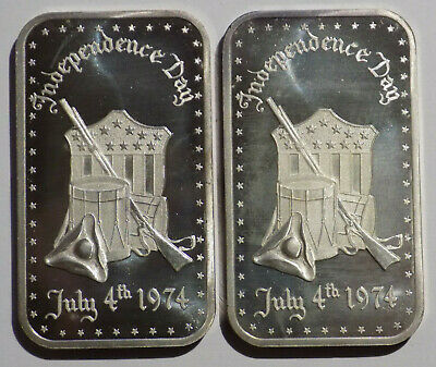 Independence Day July 4, 1974 1 oz .999 fine silver art bar Madison Mint