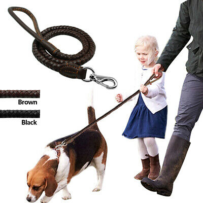 Braided Genuine Leather Dog Leash Pet 3/4ft Walking Lead With Handle Black Brown