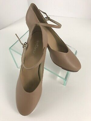 SO DANCA TA57 Women's 10 M Tan Adult Leather Mary Jane Heels Tap Shoes EUC