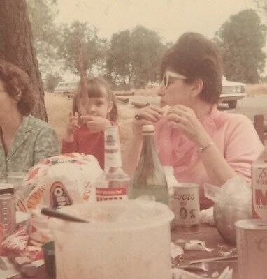 Vintage Photograph Woman At Picnic Table With Her Coors Beer 1960s