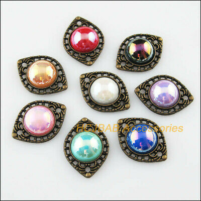 8Pcs Mixed Acrylic Eye Oval Antiqued Bronze Charms Connectors Pendant 14.5x20mm