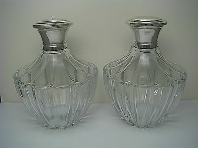 2 VINTAGE VANITY GLASS PERFUME SET BOTTLES JARS 800 SILVER LIDS Germany ca1930s