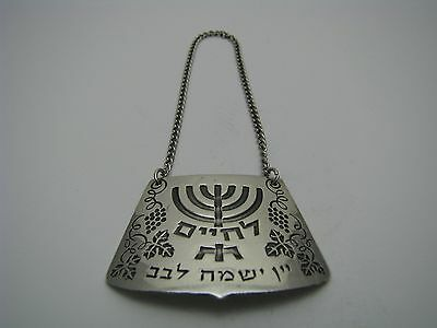 "A STERLING SILVER WINE LABEL ""L'Chaim"" BOTTLE TAG Helpman Israel ca1960s Judaica"