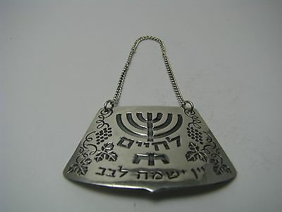 "STERLING SILVER WINE LABEL ""L'Chaim"" BOTTLE TAG Helpman Israel ca1960's Judaica"