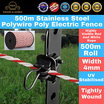 500m 4mm Stainless Steel Rope Polywire Poly Tape Electric Fence