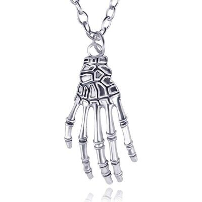 Halloween Fashion Punk Jewelry Skeleton Hand Claw Bone Pendant Chain Necklaces