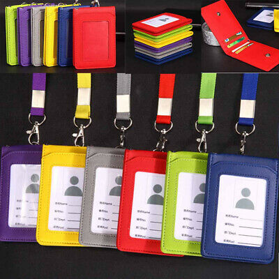 Wholesale Leather Wallet Office ID Credit Bank Card Badge Holder Lanyard 5 Slot