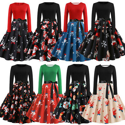 AU Vintage 50s 60s Women Christmas Cosplay Swing Long Sleeve Party Skater Dress