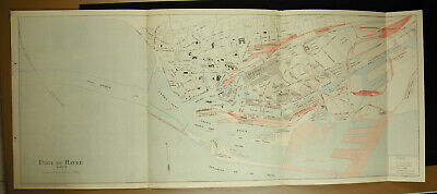 The Port of / Havre in 1930 Plan Detailed Estuary Basin Bellot Dock Vauban 104