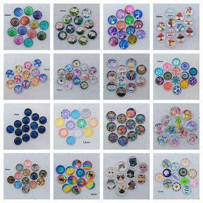 10pc 12mm Glass Domed Cabochons Assorted Designs 10mm Mandala Flower Dragon