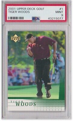 2001 Upper Deck 124 Tiger Woods Psa 9 Mint Rc Rookie Golf