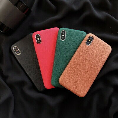 Leather Stylish Soft Rubber Back Case Cover For Apple iPhone Xs Max XR 7 8 Plus