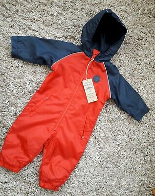 Mothercare Baby Boys Puddlesuit Age 3/6 Months Hooded New Bnwt Rain Suit Red